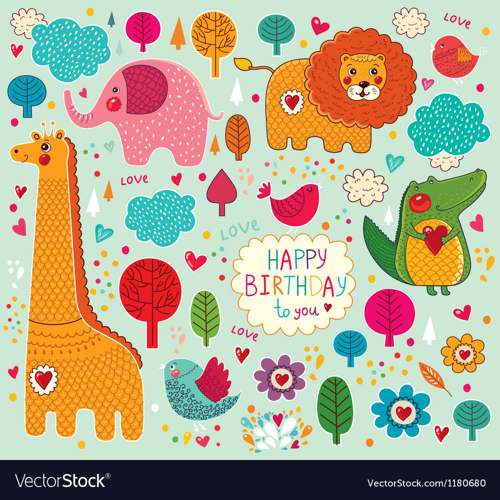Happy birthday animals vector | Price: 3 Credit (USD $3)