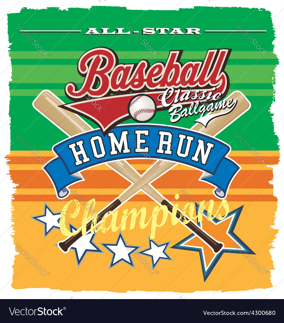 Homerun baseball champ vector | Price: 3 Credit (USD $3)
