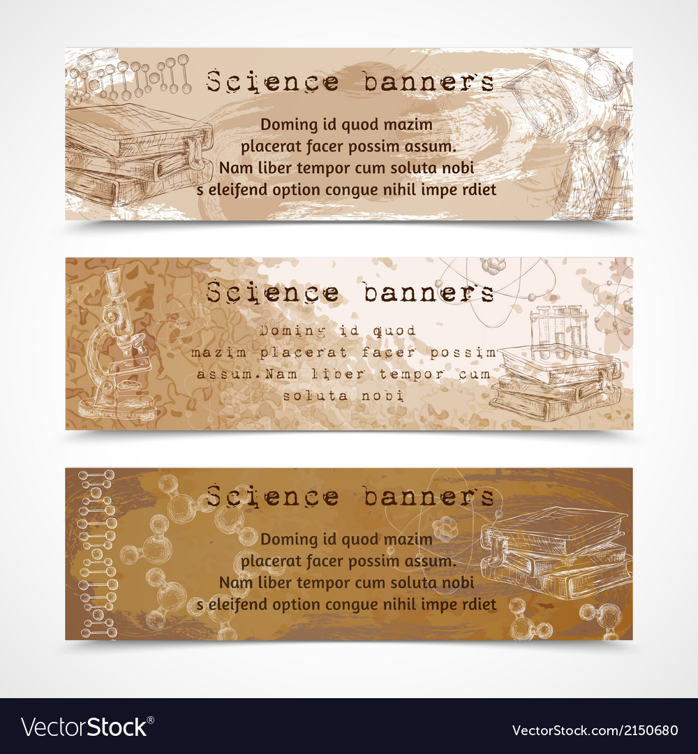 Science sketch vintage banners vector | Price: 1 Credit (USD $1)