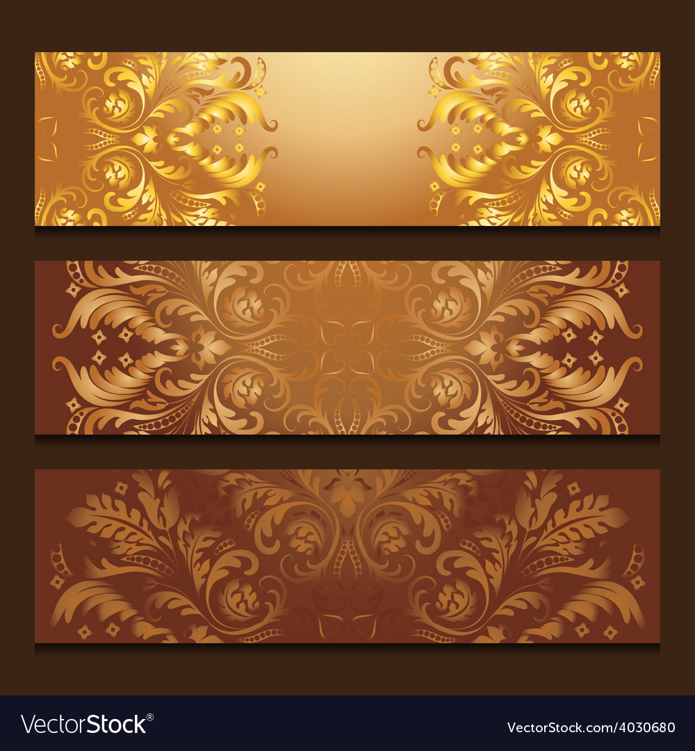Template banners with filigree pattern vector | Price: 1 Credit (USD $1)