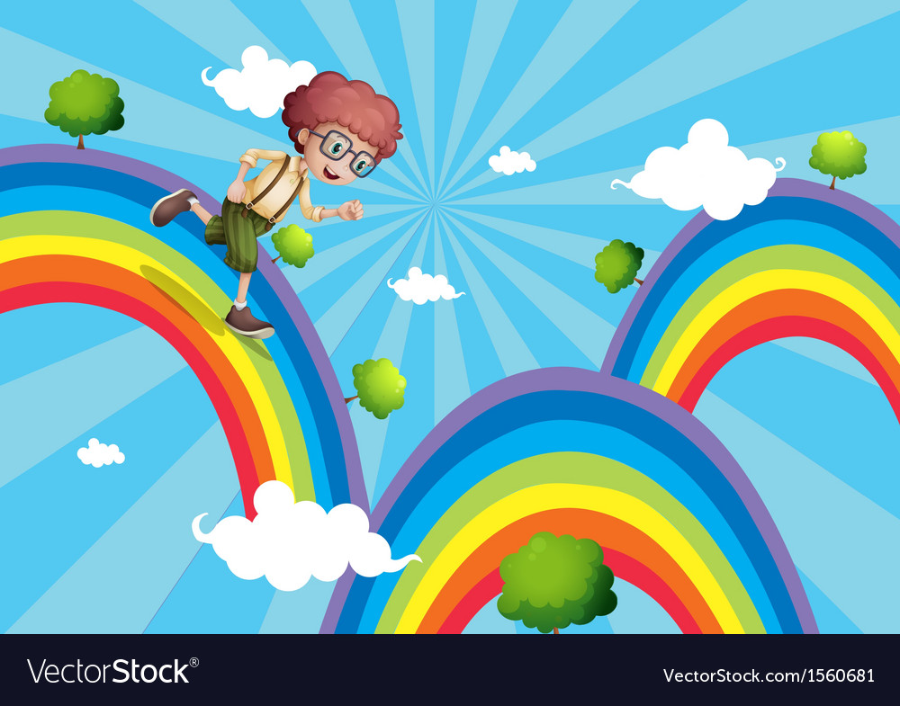 A boy walking at the top of the rainbow vector | Price: 1 Credit (USD $1)