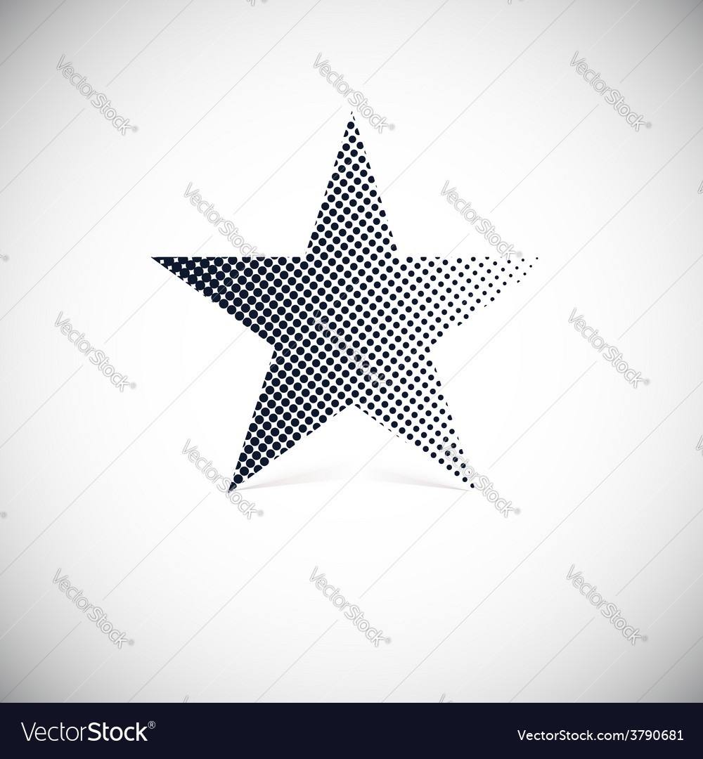 Black halftone star with shadow vector | Price: 1 Credit (USD $1)
