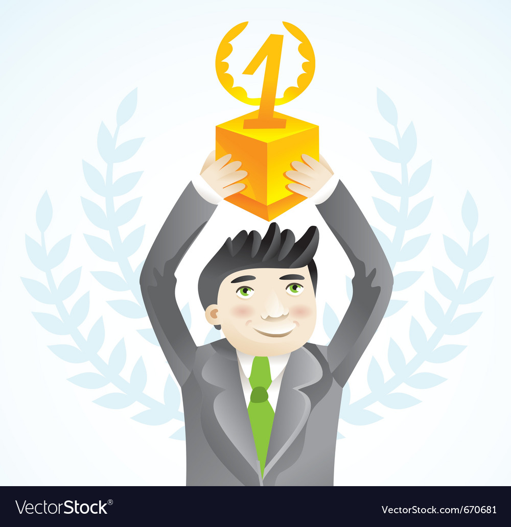 Businesman holding cup - leadership concept - vector | Price: 1 Credit (USD $1)