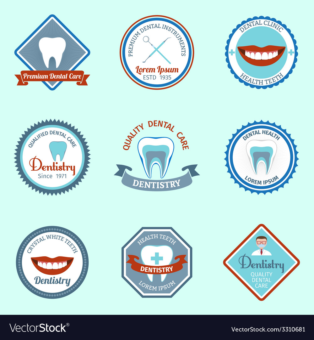 Dental emblems set vector | Price: 1 Credit (USD $1)