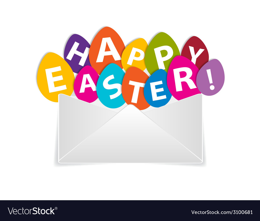 Eggs with happy easter message out of envelope vector | Price: 1 Credit (USD $1)