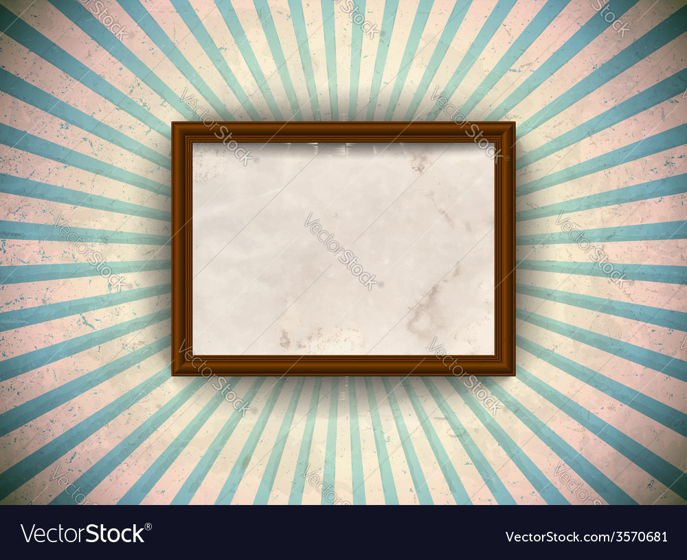 Frame on the grungy rays background vector | Price: 1 Credit (USD $1)