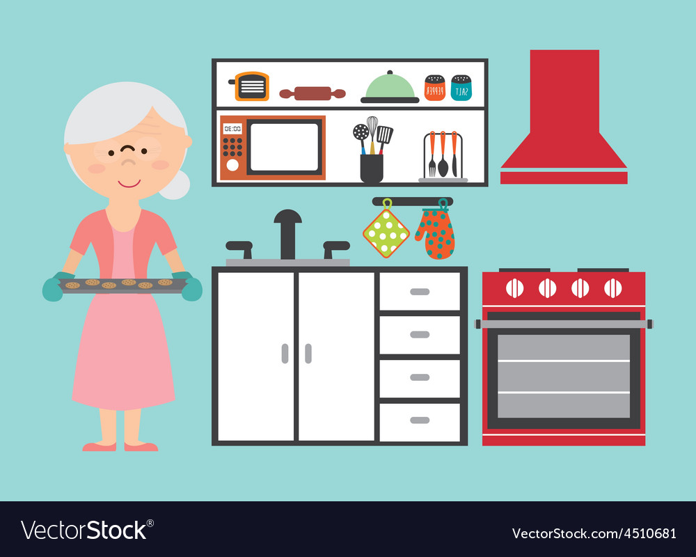 Grandmother cooking vector | Price: 1 Credit (USD $1)