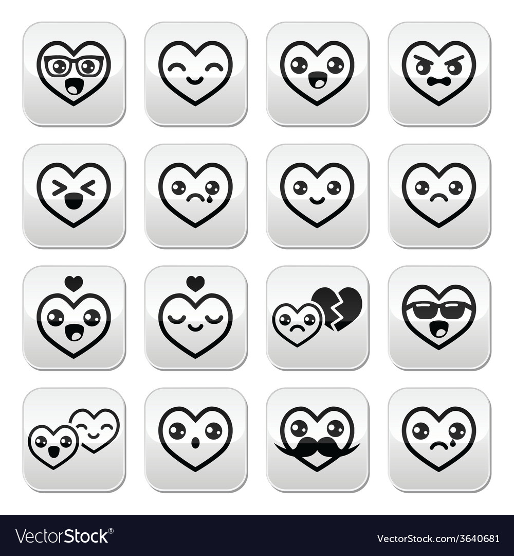 Kawaii hearts valentines day cute buttons vector | Price: 1 Credit (USD $1)