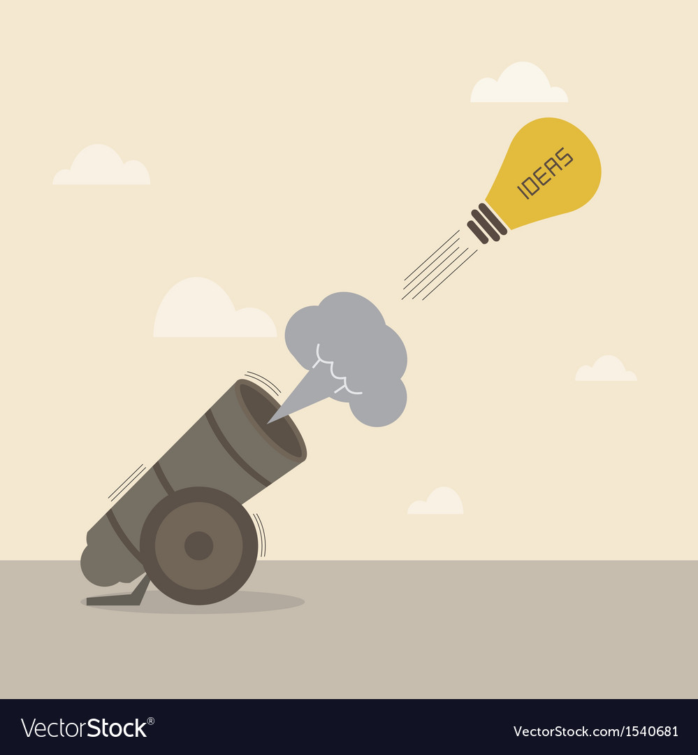 Lightbulb idea is launched from big cannon vector | Price: 1 Credit (USD $1)