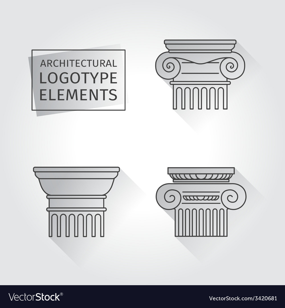 Linear icons columns flat with long shadows vector | Price: 1 Credit (USD $1)
