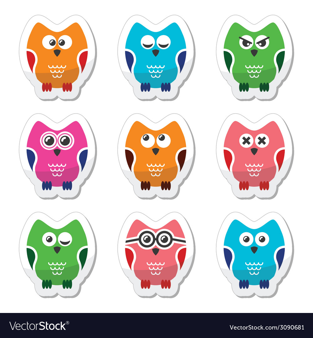 Owl cartoon icons set vector | Price: 1 Credit (USD $1)