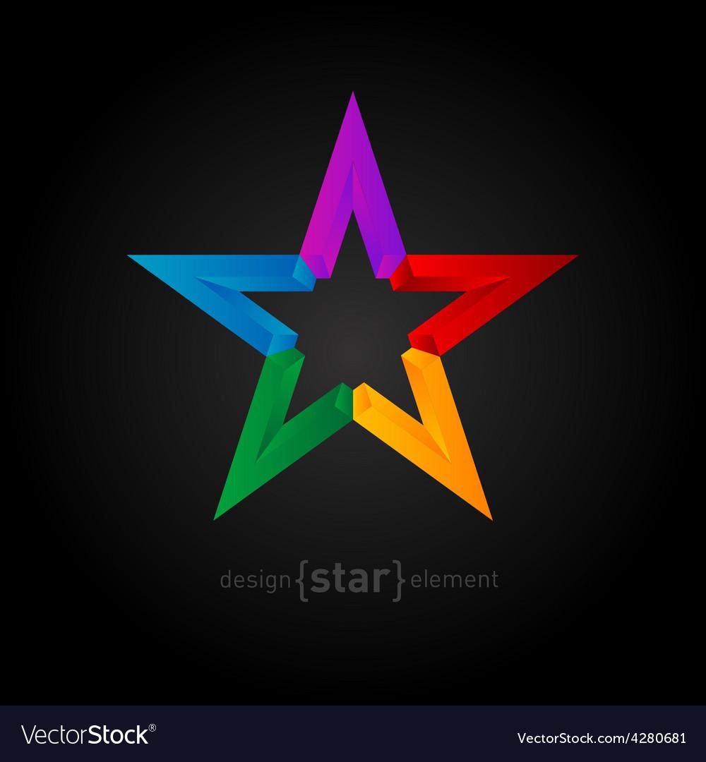Rainbow star abstract design element on black vector | Price: 1 Credit (USD $1)
