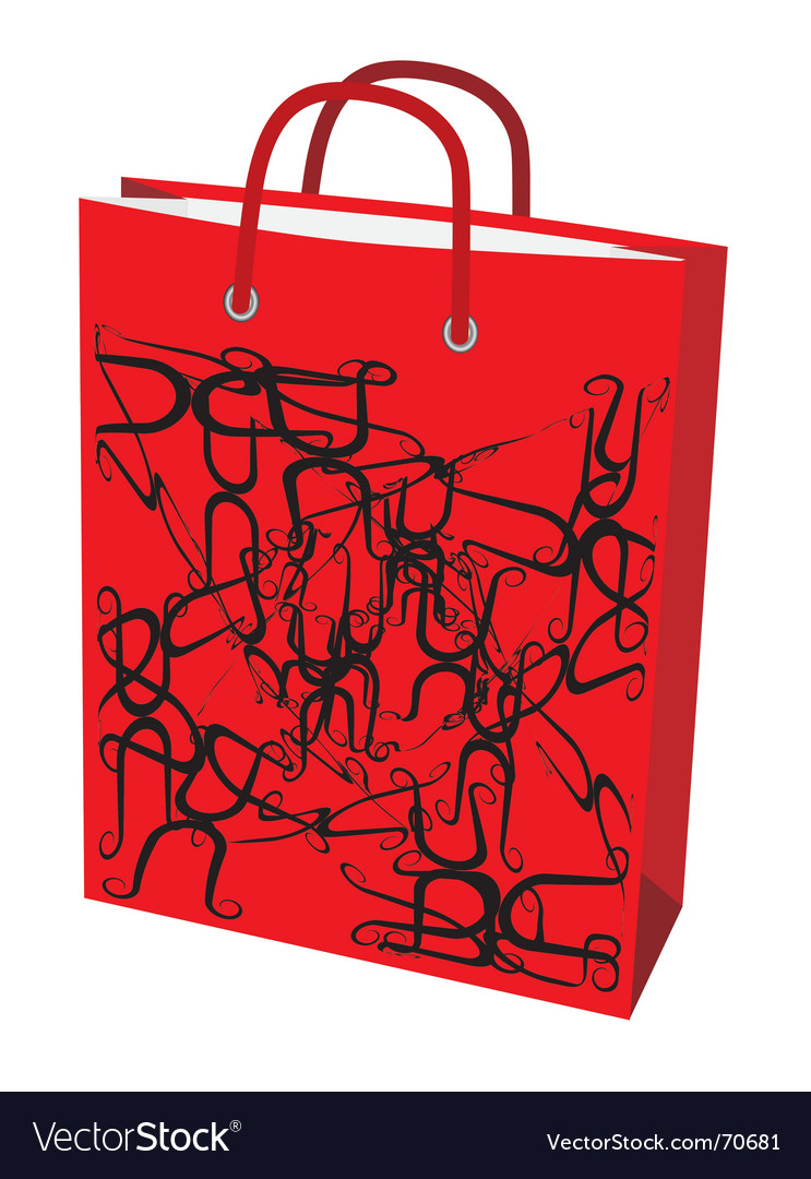 Red paper bag for shopping vector | Price: 1 Credit (USD $1)