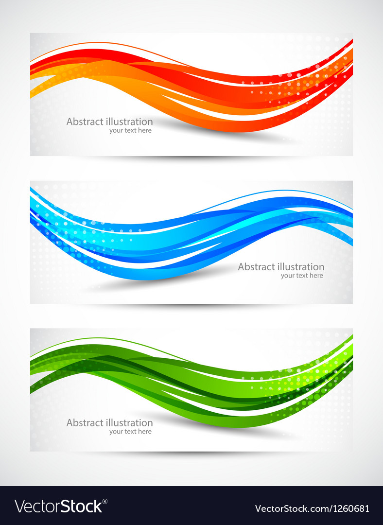 Set of abstract wavy banners vector | Price: 1 Credit (USD $1)