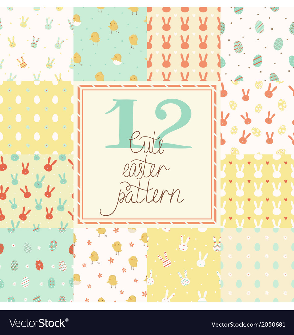 Set of cute easter patterns vector | Price: 1 Credit (USD $1)