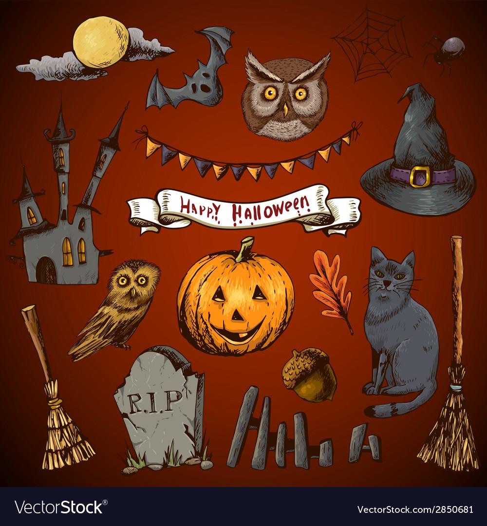 Set of doodles design halloween elements vector | Price: 1 Credit (USD $1)