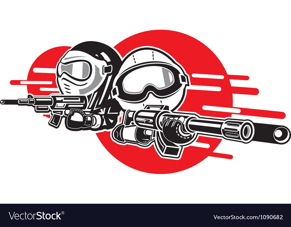 Cartoon boy and girl play airsoft guns vector | Price: 1 Credit (USD $1)