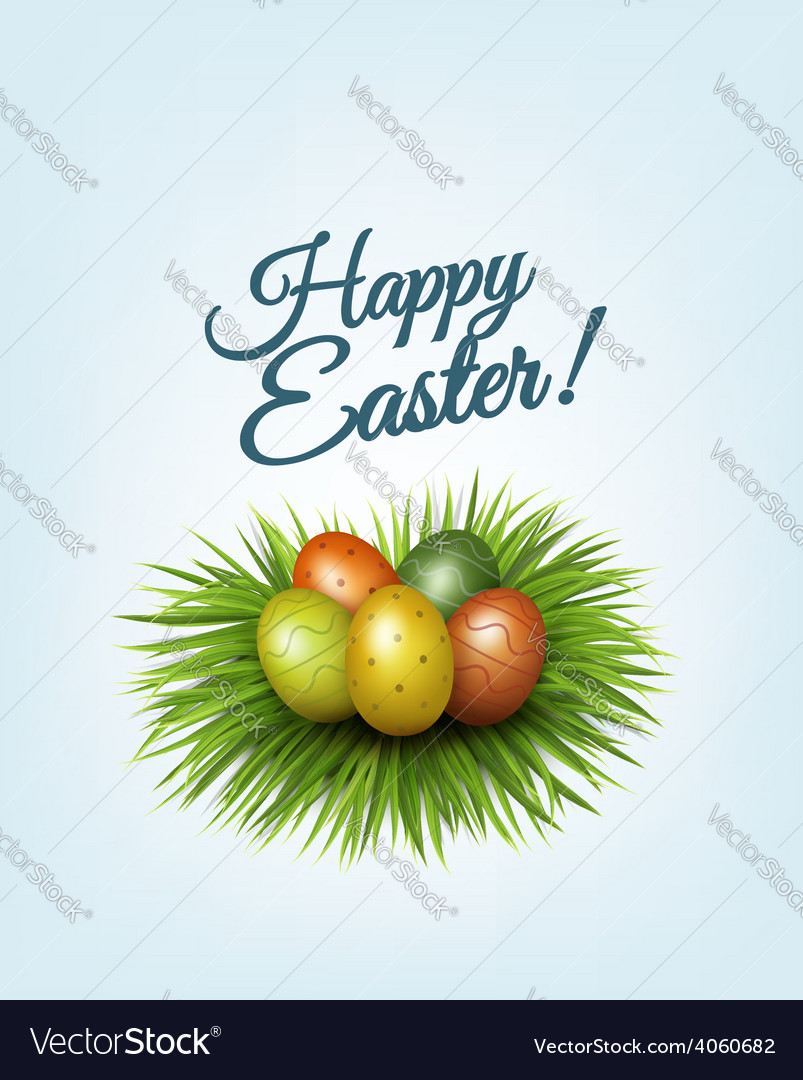 Happy easter background colorful easter eggs in vector | Price: 3 Credit (USD $3)