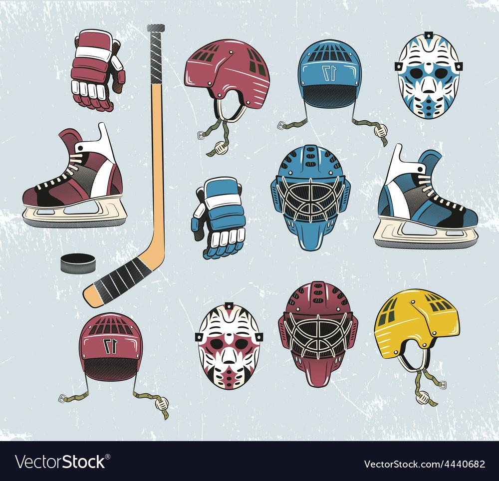 Hockey equipment color vector | Price: 1 Credit (USD $1)