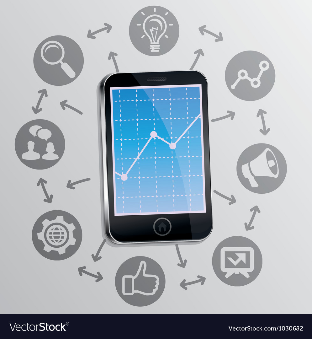 Internet marketing concept on mobile phone screen vector | Price: 1 Credit (USD $1)