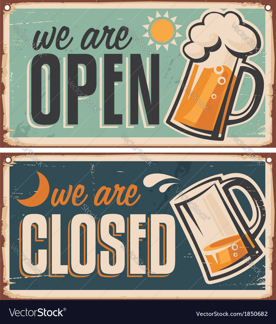 Retro tin door signs set for pub vector | Price: 1 Credit (USD $1)