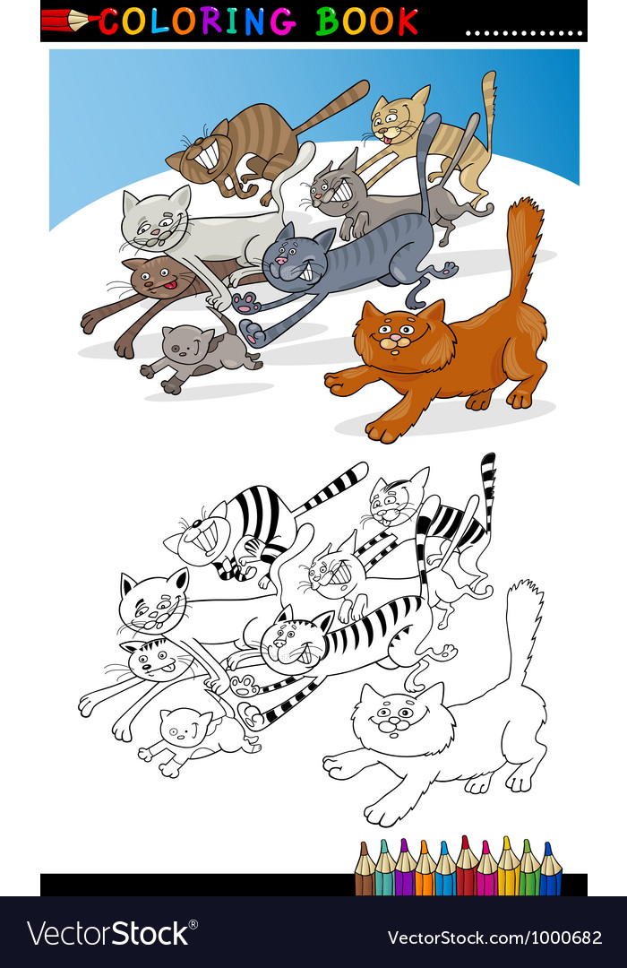 Running cats for coloring book or page vector | Price: 3 Credit (USD $3)