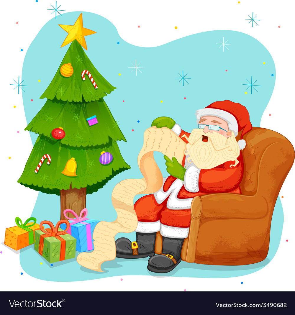 Santa claus reading wish list for christmas vector | Price: 3 Credit (USD $3)