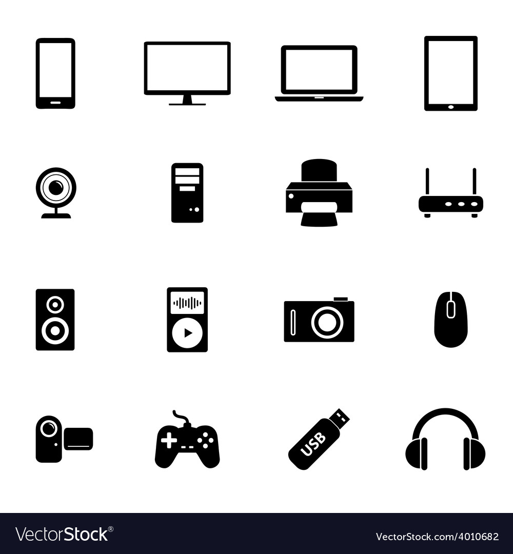 Set of flat icons- electronic devices pc hardware vector | Price: 1 Credit (USD $1)