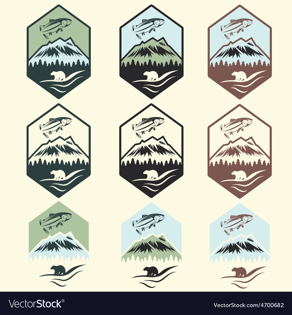 Set of vintage fishing camp labels with salmon and vector | Price: 1 Credit (USD $1)