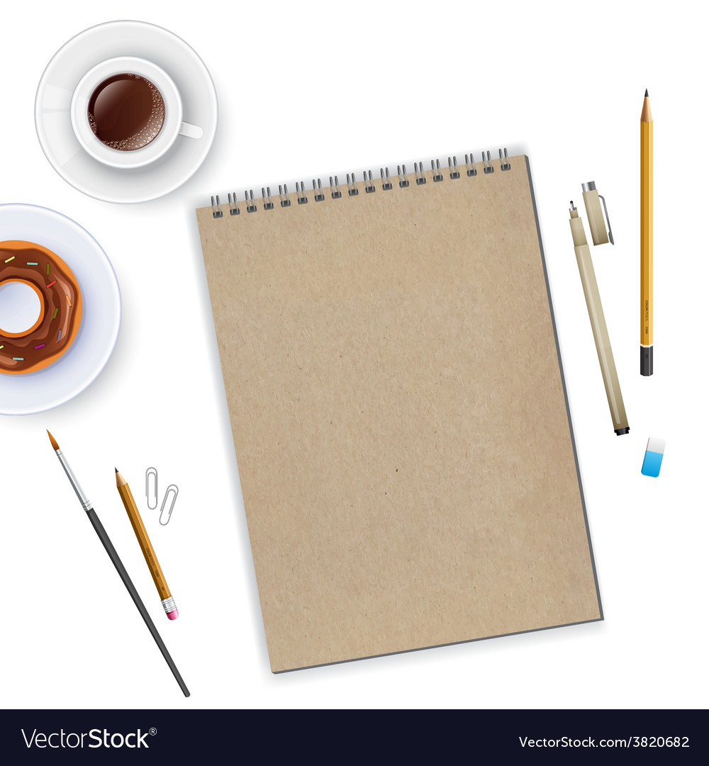 Workspace with notebook and coffee vector   Price: 1 Credit (USD $1)