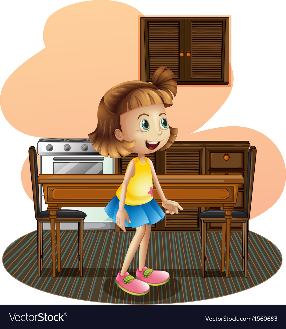 A little girl in the kitchen wearing a blue skirt vector | Price: 3 Credit (USD $3)