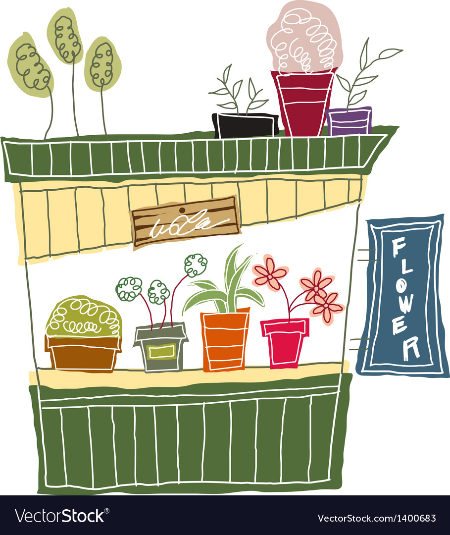 A view of flower shop vector | Price: 1 Credit (USD $1)