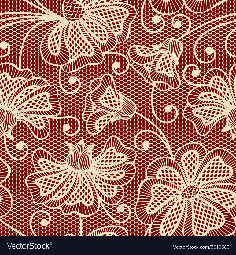 Beige seamless flower pattern on red background vector | Price: 1 Credit (USD $1)