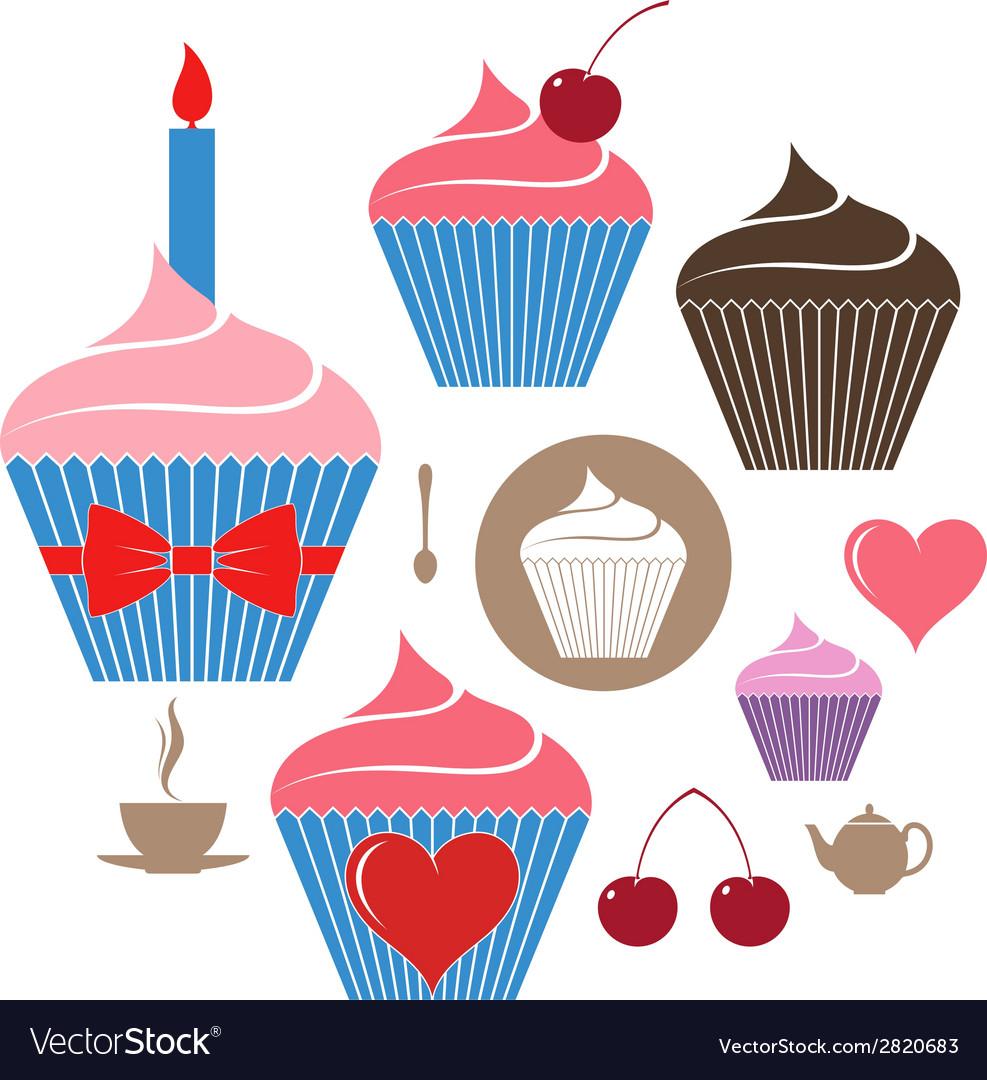 Birthday cake icon set vector | Price: 1 Credit (USD $1)
