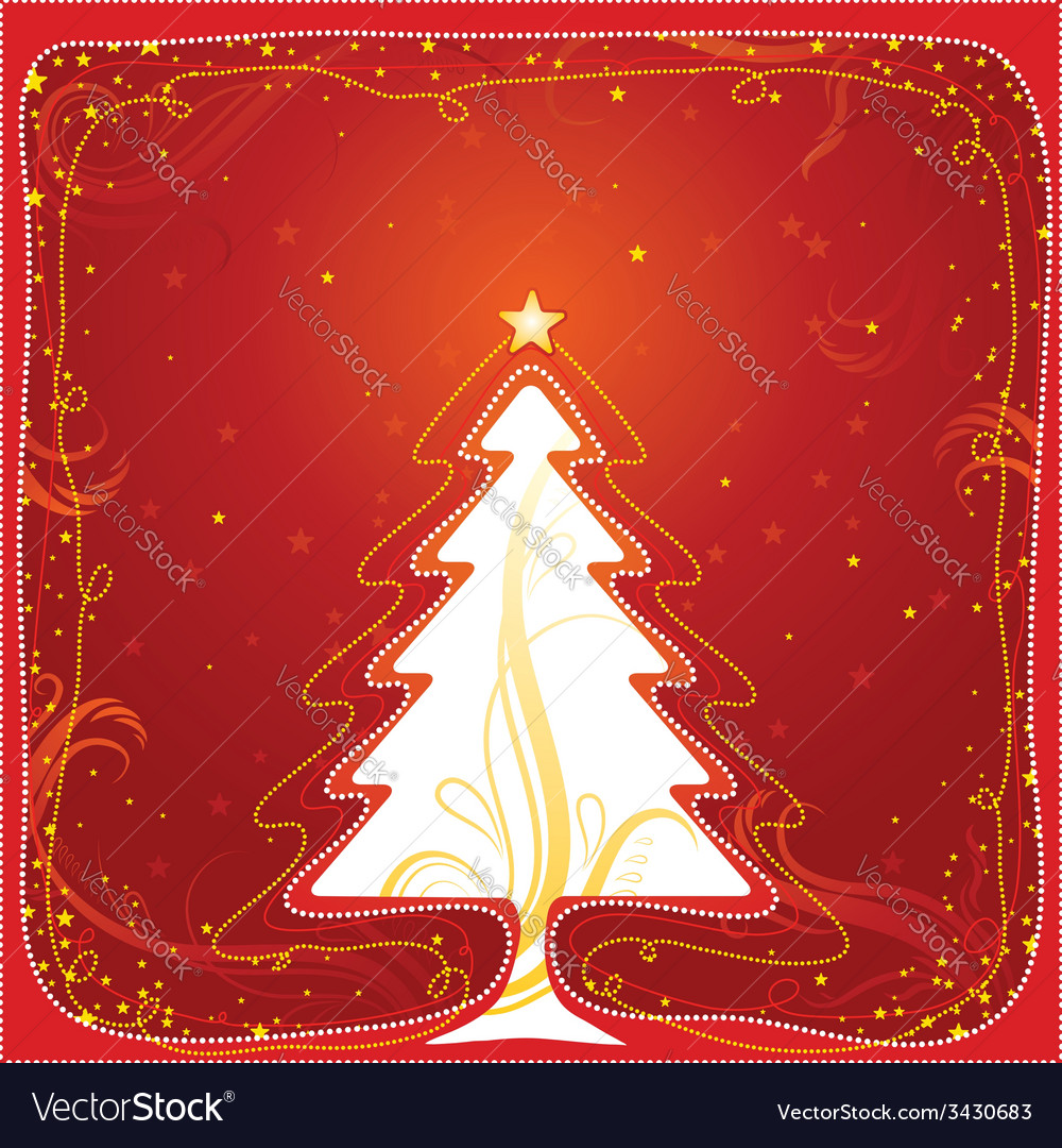 Christmas card with one tree vector | Price: 1 Credit (USD $1)