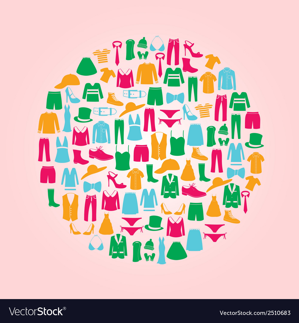 Color clothing icons set in circle eps10 vector | Price: 1 Credit (USD $1)
