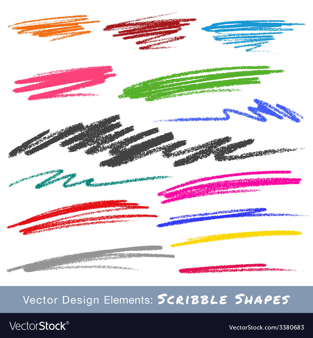 Colorful scribble smears hand drawn in pencil logo vector | Price: 1 Credit (USD $1)