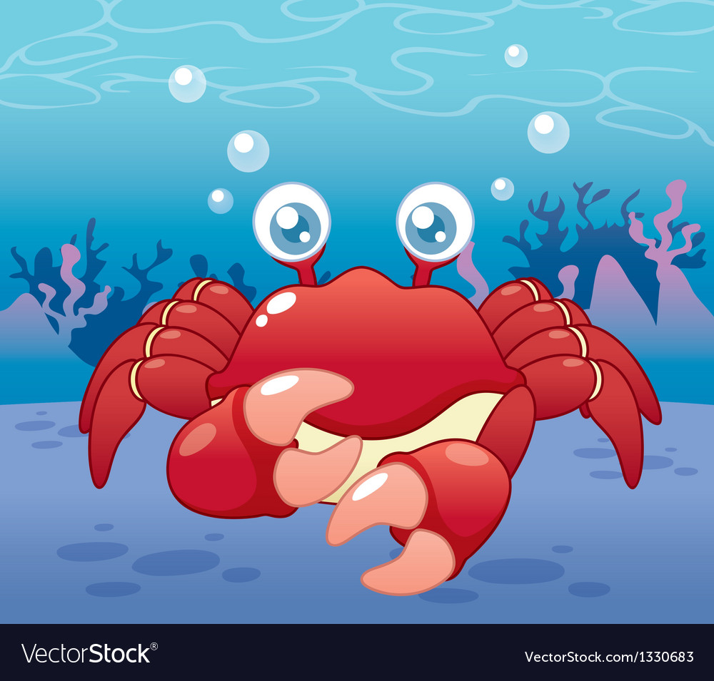 Crab in sea vector | Price: 3 Credit (USD $3)