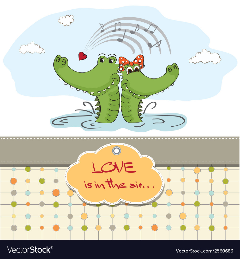Crocodiles in lovevalentines day card vector | Price: 1 Credit (USD $1)