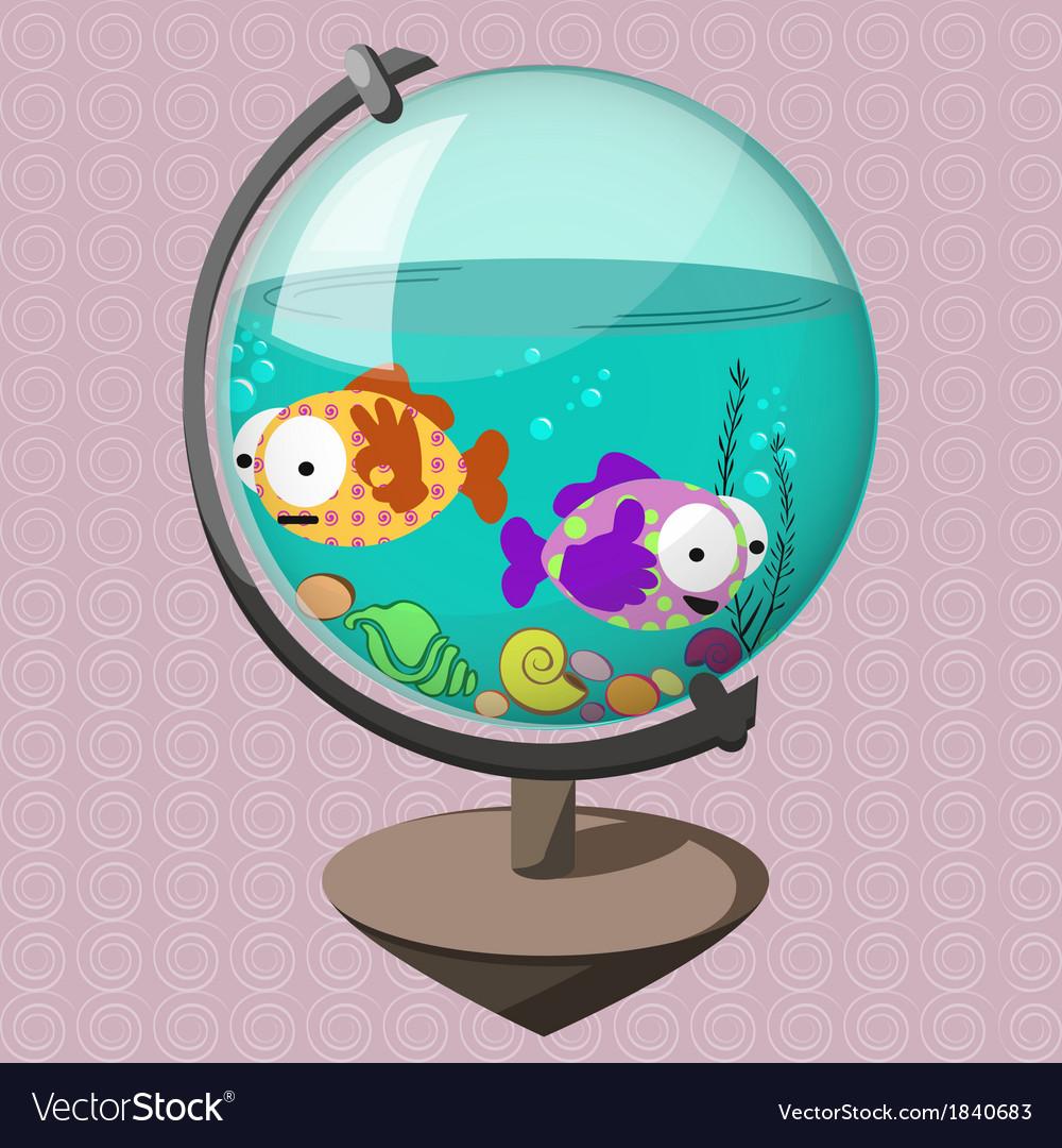 Funny fish in globe-aquarium vector   Price: 1 Credit (USD $1)