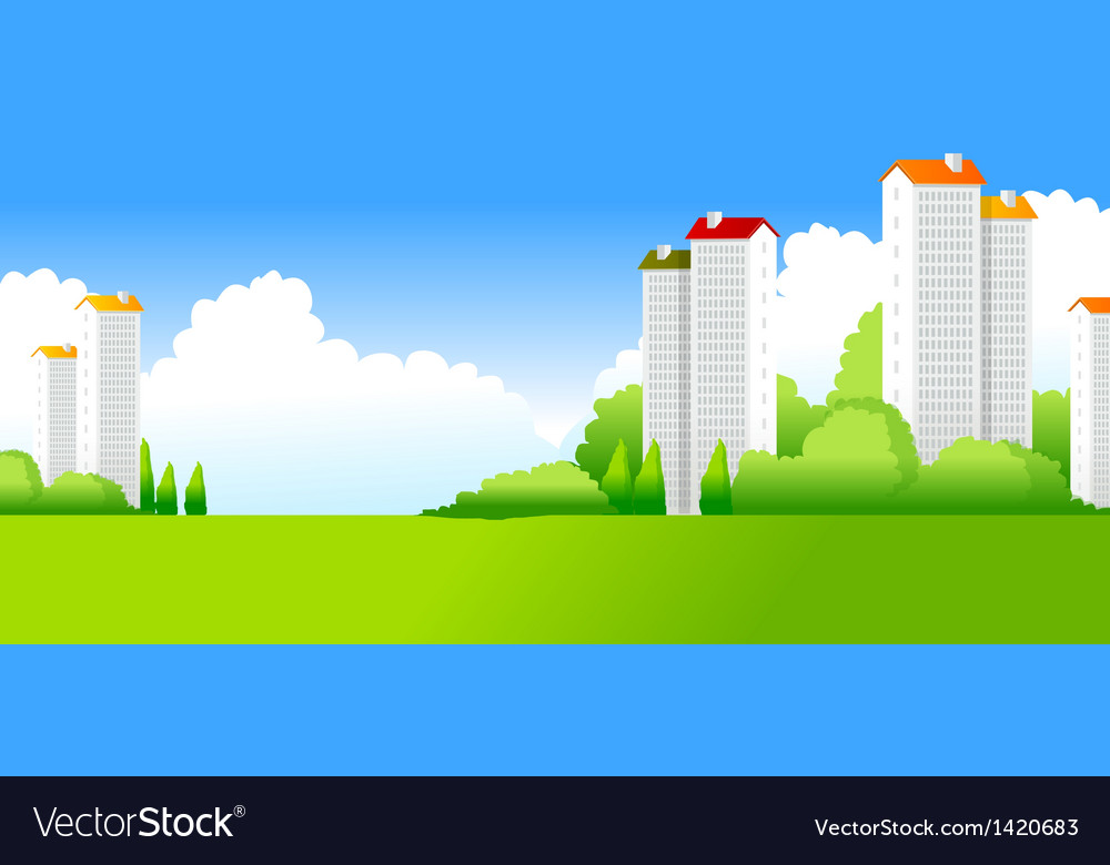 Green landscape with buildings vector | Price: 1 Credit (USD $1)