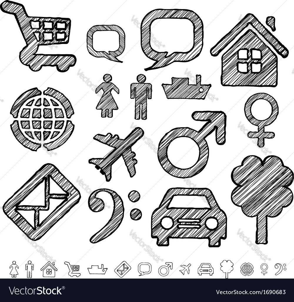 Group of icons for infographic in doodle style vector | Price: 1 Credit (USD $1)