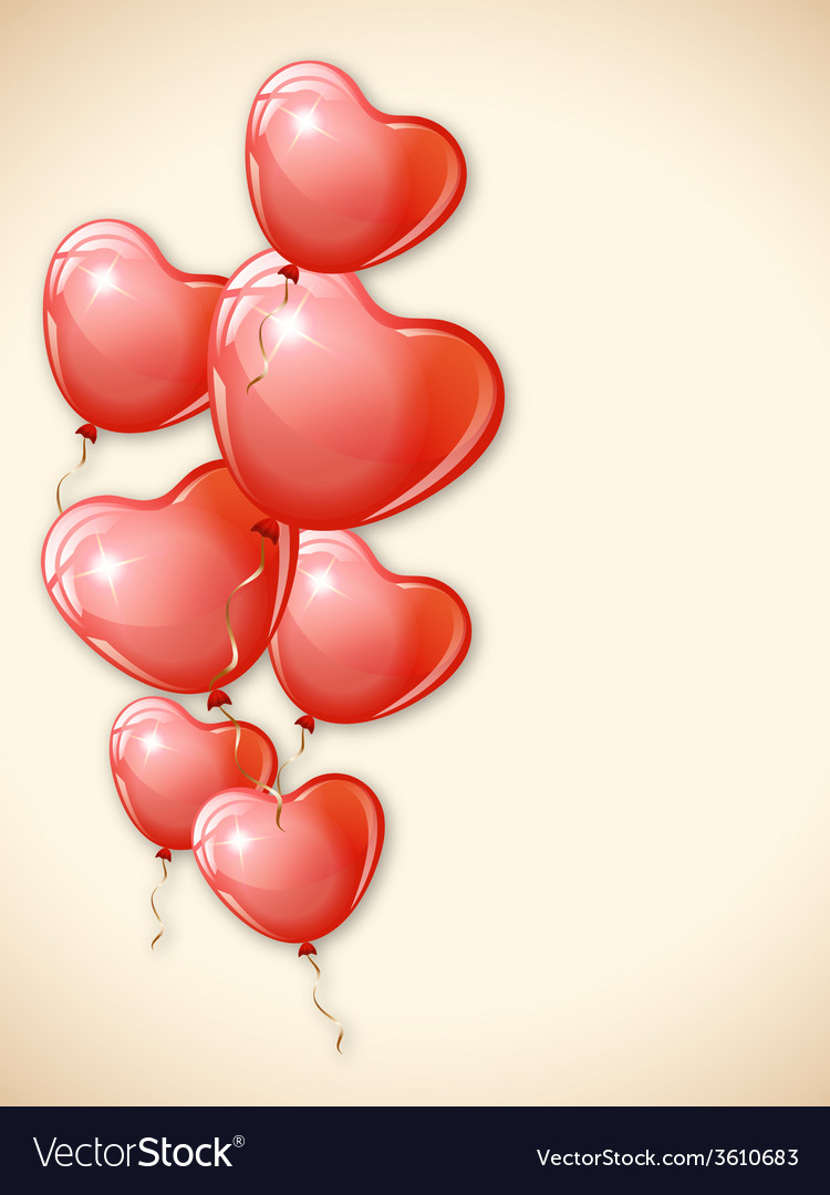 Heart shaped red balloons vector   Price: 1 Credit (USD $1)