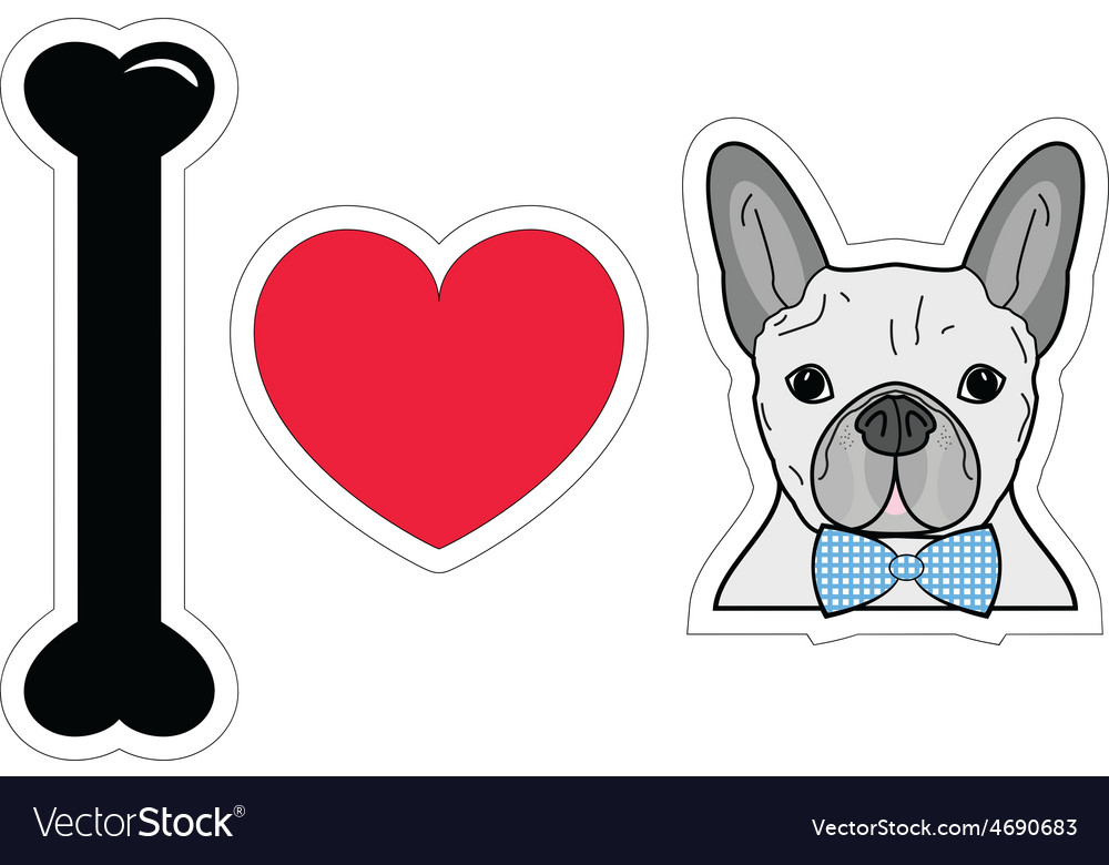 I love french bulldog hipster with blue tie bow vector | Price: 1 Credit (USD $1)