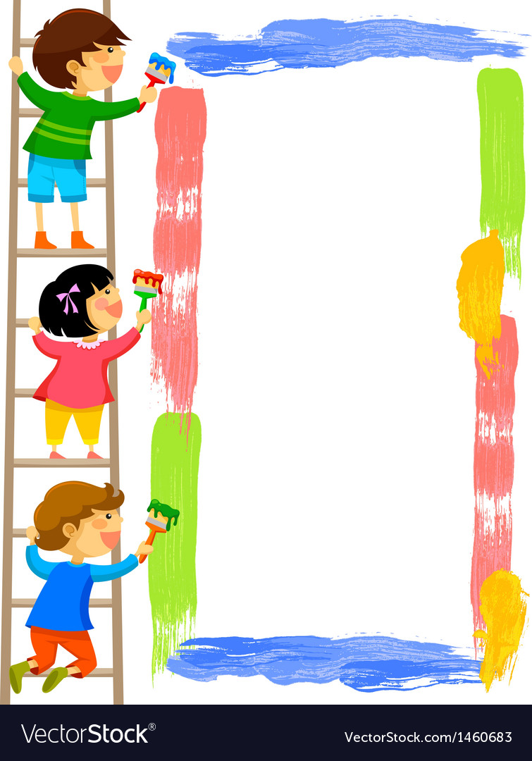 Kids painting a frame vector | Price: 1 Credit (USD $1)