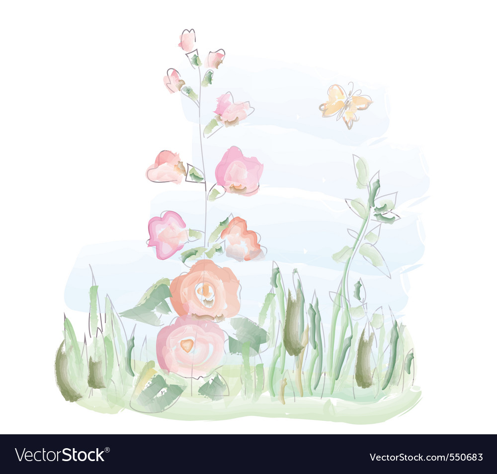 Mallow watercolor vector | Price: 1 Credit (USD $1)
