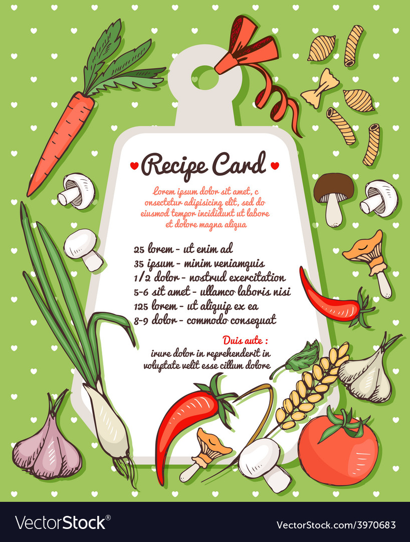 Recipe card with fresh vegetables and pasta vector | Price: 1 Credit (USD $1)