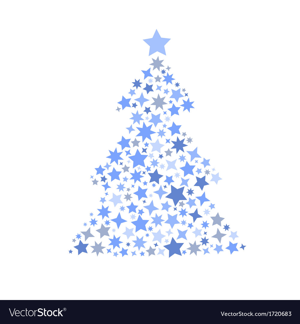 Symbol silhouette of christmas tree stars vector | Price: 1 Credit (USD $1)