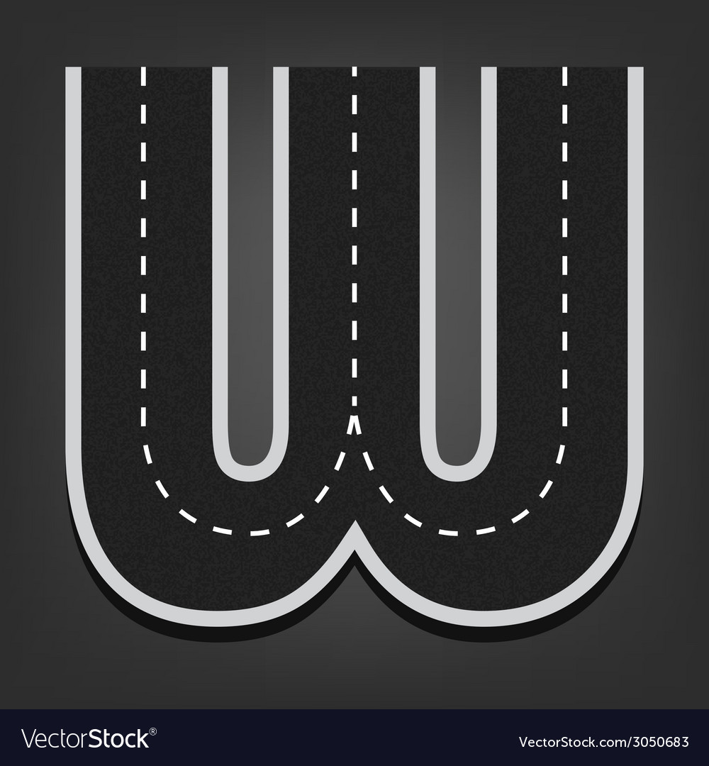 W letter road font vector | Price: 1 Credit (USD $1)