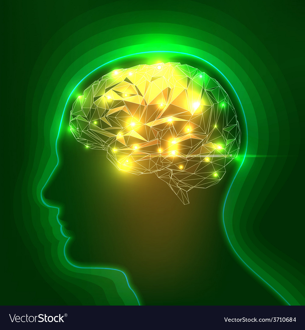 Abstract human head silhouette with a brain vector | Price: 1 Credit (USD $1)